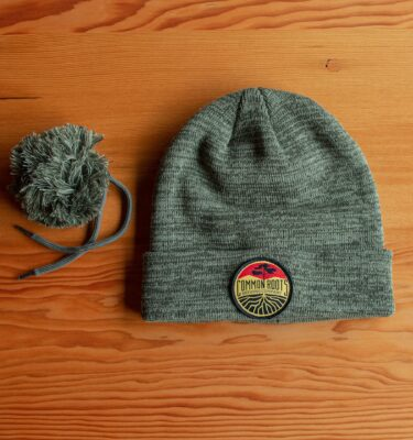 Green Beanie with pompom removed